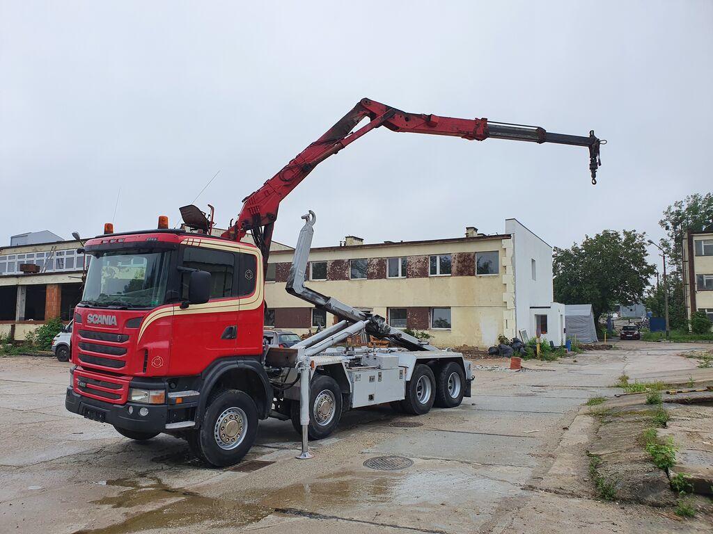крюковой мультилифт SCANIA G480 8x2 hook + crane LOGLIFT 265 Z, 2010 year, Euro 5, service