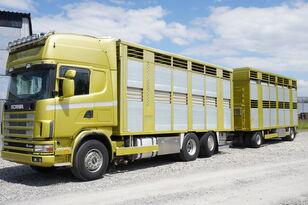 скотовоз SCANIA R164 V8 , 6x2 , 2 hydraulic decks , 70m2 , live stock + прицеп скотовоз