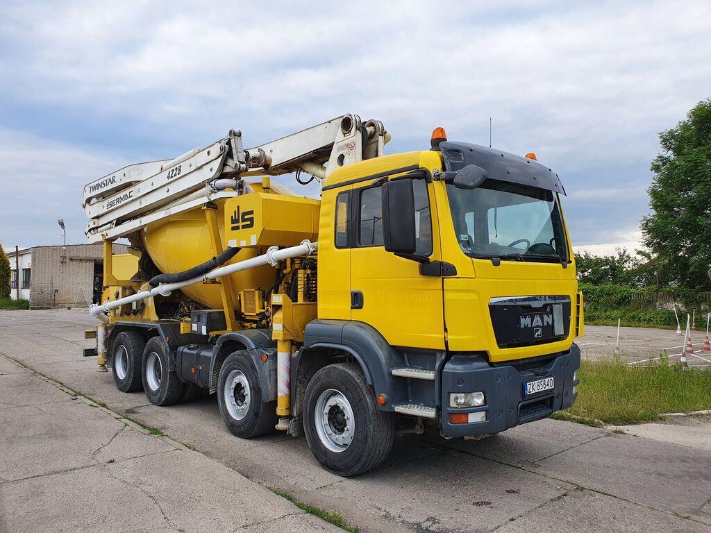автобетононасос MAN 41.400 8x4 Sermac 28m + 9m3 mixer pump, 2007year. good pump